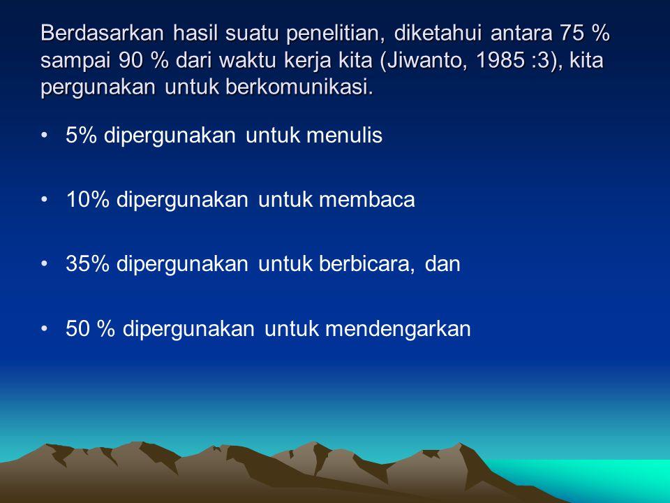 Berdasarkan hasil suatu penelitian, diketahui antara 75 % sampai 90 % dari waktu kerja kita (Jiwanto, 1985 :3), kita pergunakan untuk berkomunikasi.