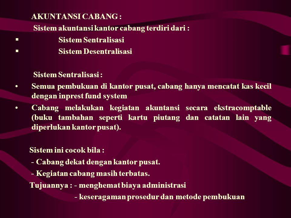 AKUNTANSI CABANG : Sistem akuntansi kantor cabang terdiri dari : Sistem Sentralisasi. Sistem Desentralisasi.