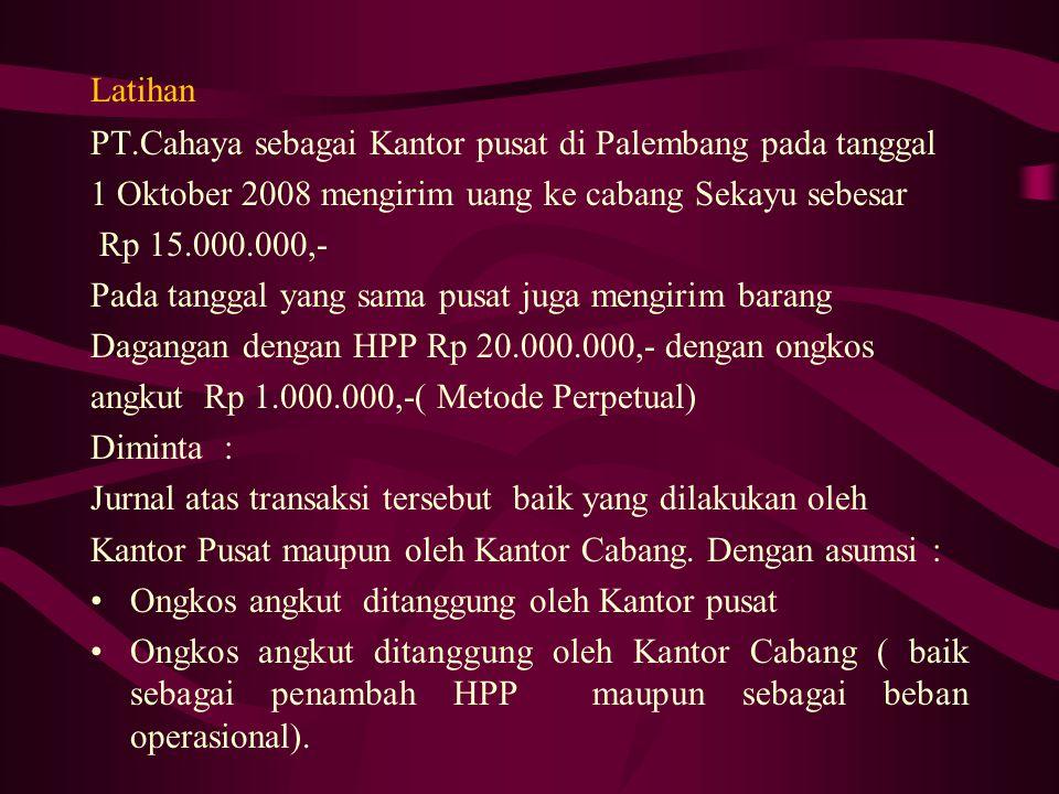 Latihan PT.Cahaya sebagai Kantor pusat di Palembang pada tanggal. 1 Oktober 2008 mengirim uang ke cabang Sekayu sebesar.
