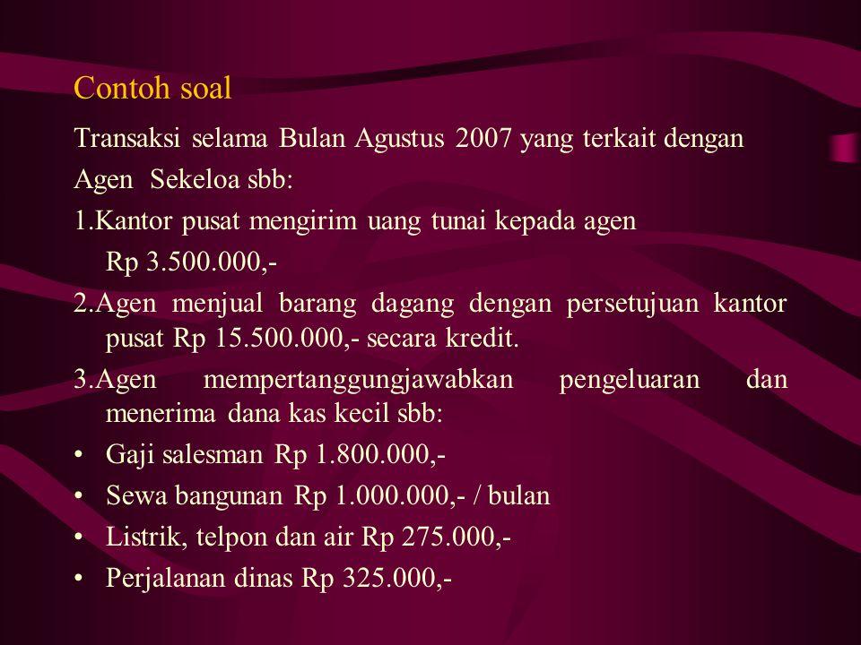 Contoh soal Transaksi selama Bulan Agustus 2007 yang terkait dengan