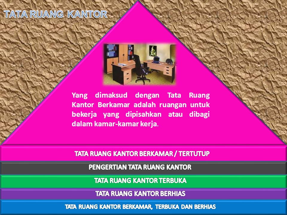 Yang dimaksud dengan Tata Ruang Kantor Berkamar adalah ruangan untuk bekerja yang dipisahkan atau dibagi dalam kamar-kamar kerja.