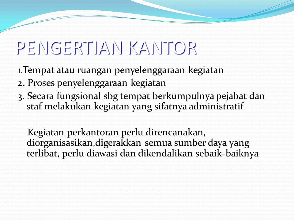 PENGERTIAN KANTOR 1.Tempat atau ruangan penyelenggaraan kegiatan