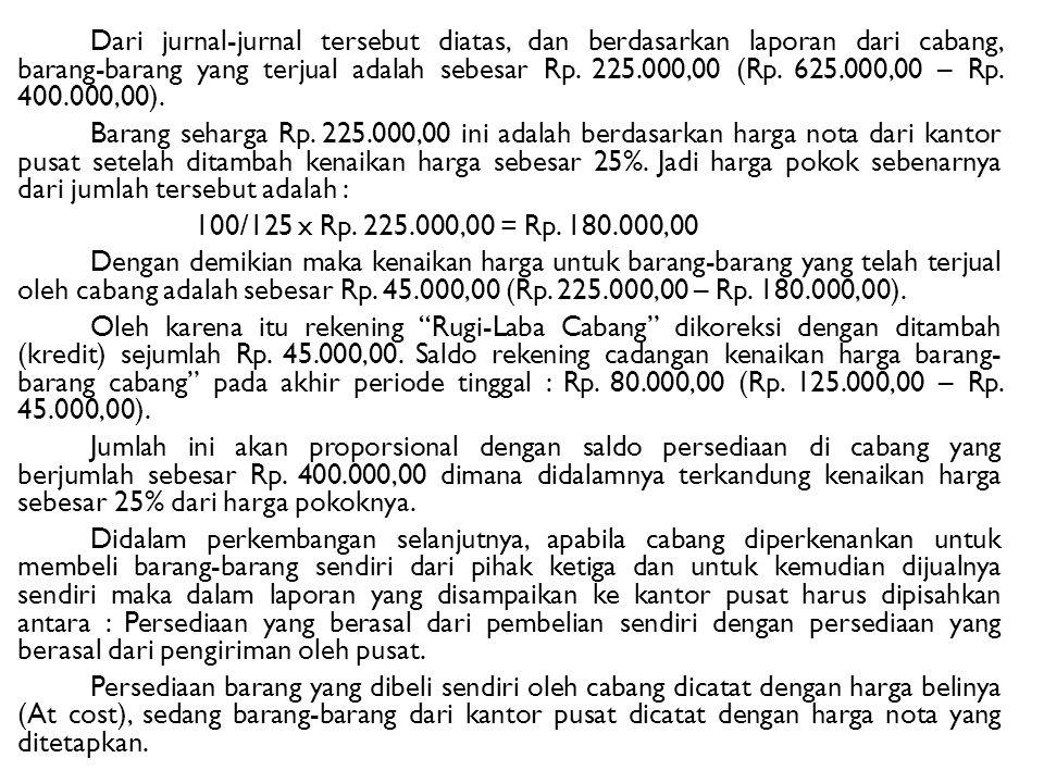 Dari jurnal-jurnal tersebut diatas, dan berdasarkan laporan dari cabang, barang-barang yang terjual adalah sebesar Rp.