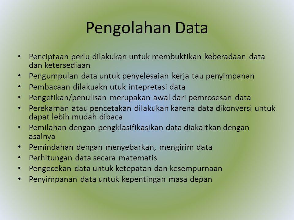 Pengolahan Data Penciptaan perlu dilakukan untuk membuktikan keberadaan data dan ketersediaan.