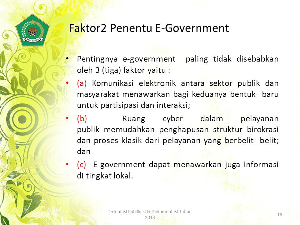 Faktor2 Penentu E-Government