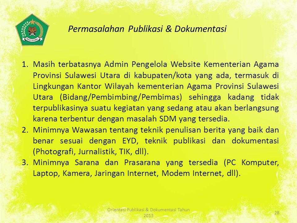 Permasalahan Publikasi & Dokumentasi