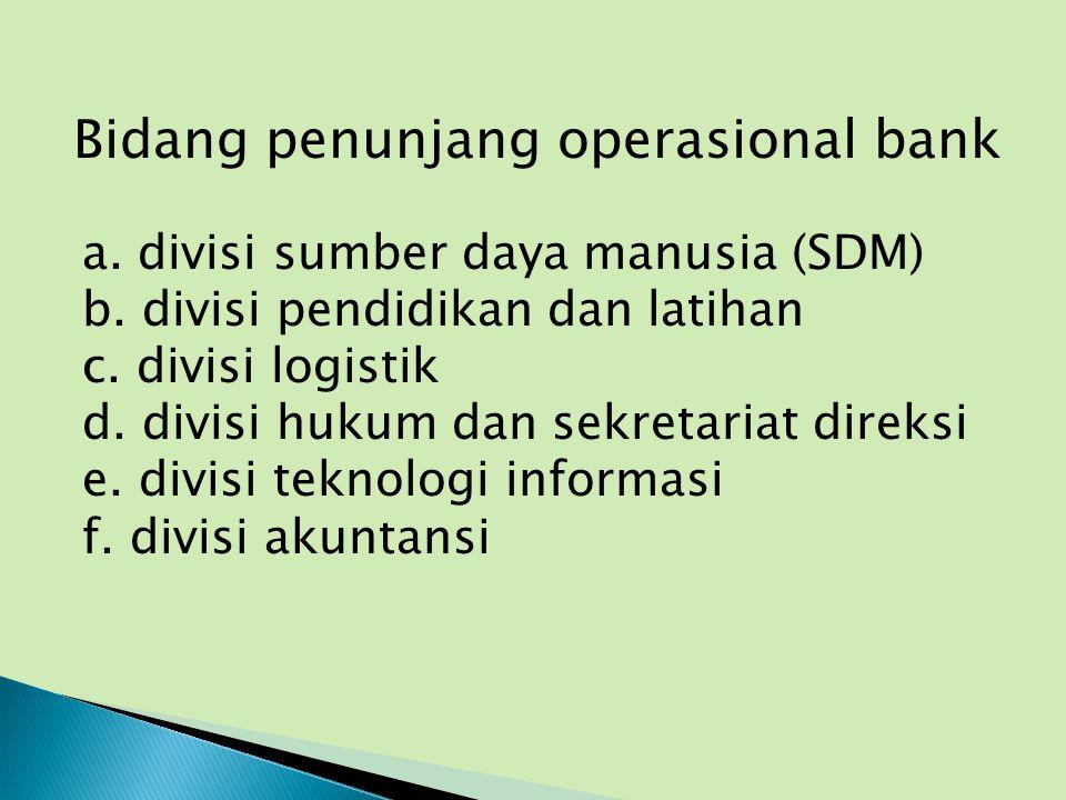 Bidang penunjang operasional bank