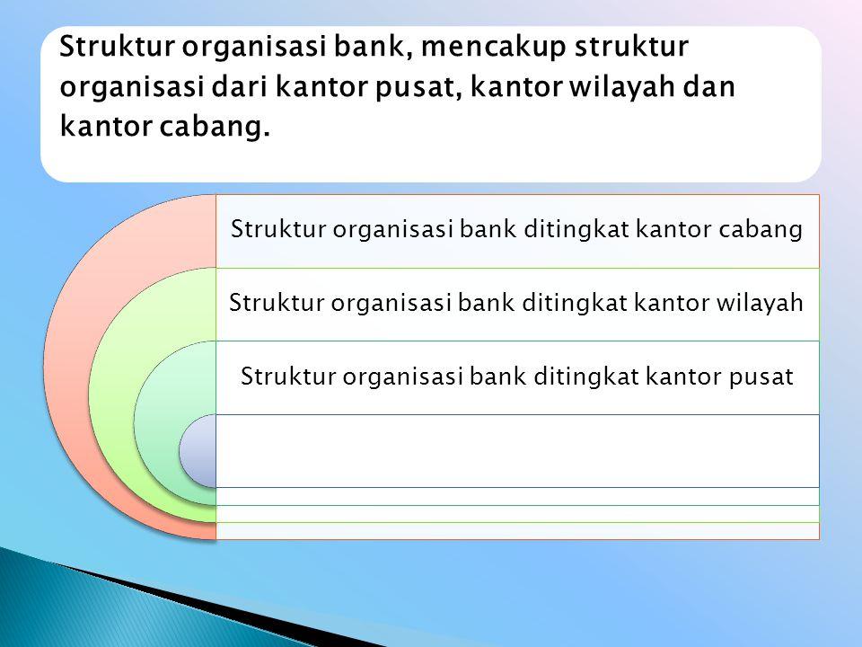 Struktur organisasi bank, mencakup struktur organisasi dari kantor pusat, kantor wilayah dan kantor cabang.