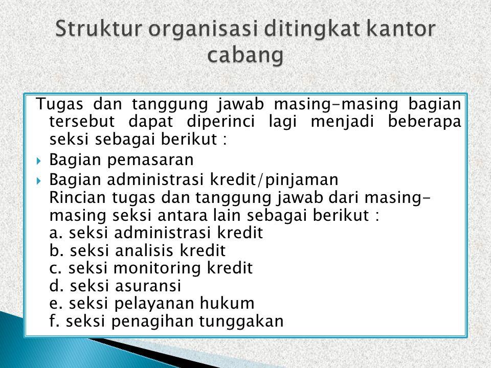 Struktur organisasi ditingkat kantor cabang