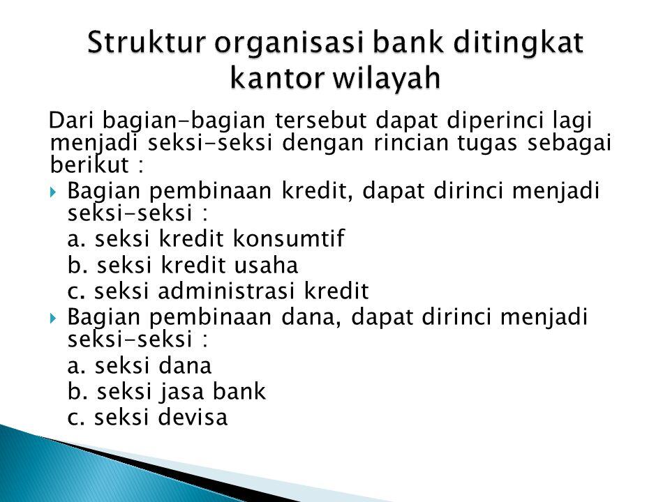 Struktur organisasi bank ditingkat kantor wilayah