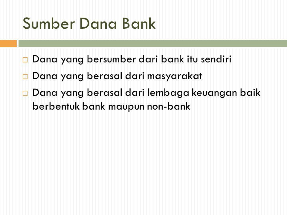 Sumber Dana Bank Dana yang bersumber dari bank itu sendiri