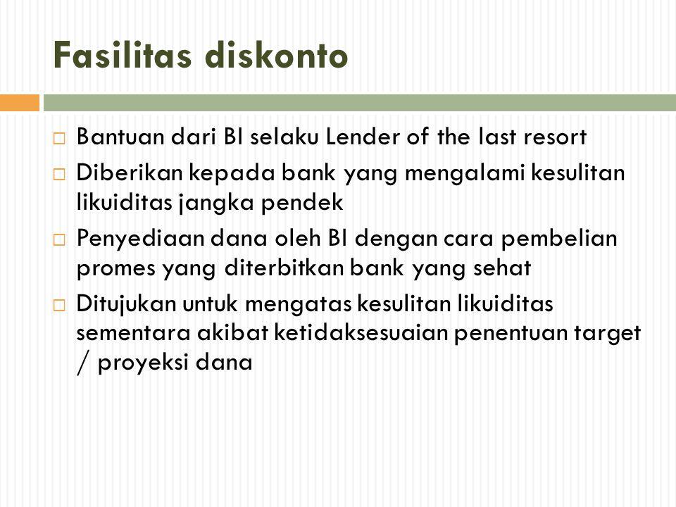 Fasilitas diskonto Bantuan dari BI selaku Lender of the last resort