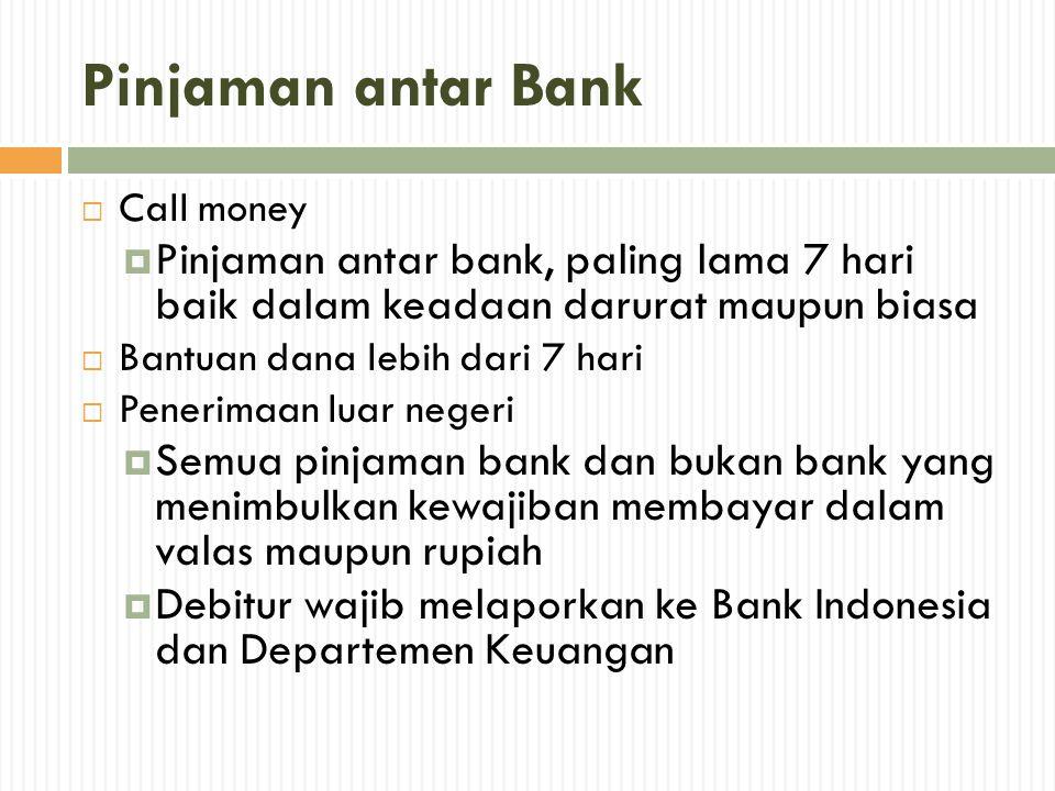 Pinjaman antar Bank Call money. Pinjaman antar bank, paling lama 7 hari baik dalam keadaan darurat maupun biasa.