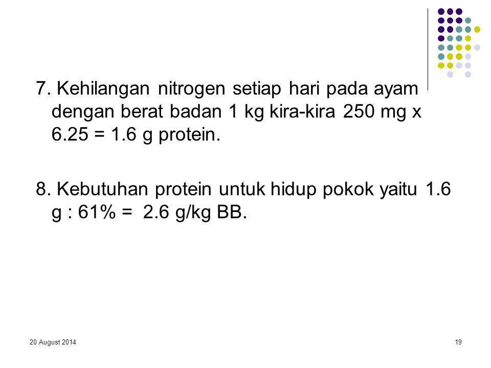 7. Kehilangan nitrogen setiap hari pada ayam dengan berat badan 1 kg kira-kira 250 mg x 6.25 = 1.6 g protein.