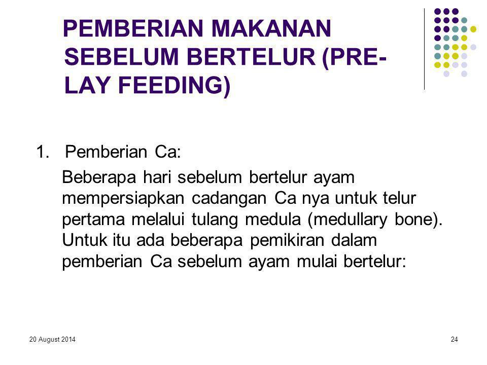 PEMBERIAN MAKANAN SEBELUM BERTELUR (PRE-LAY FEEDING)