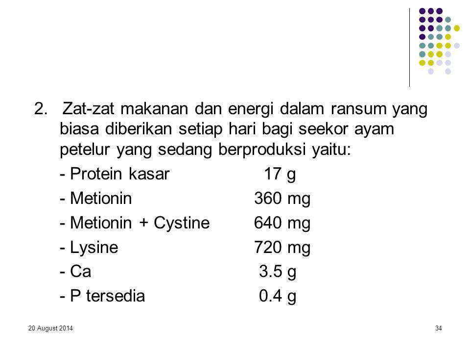 2. Zat-zat makanan dan energi dalam ransum yang biasa diberikan setiap hari bagi seekor ayam petelur yang sedang berproduksi yaitu:
