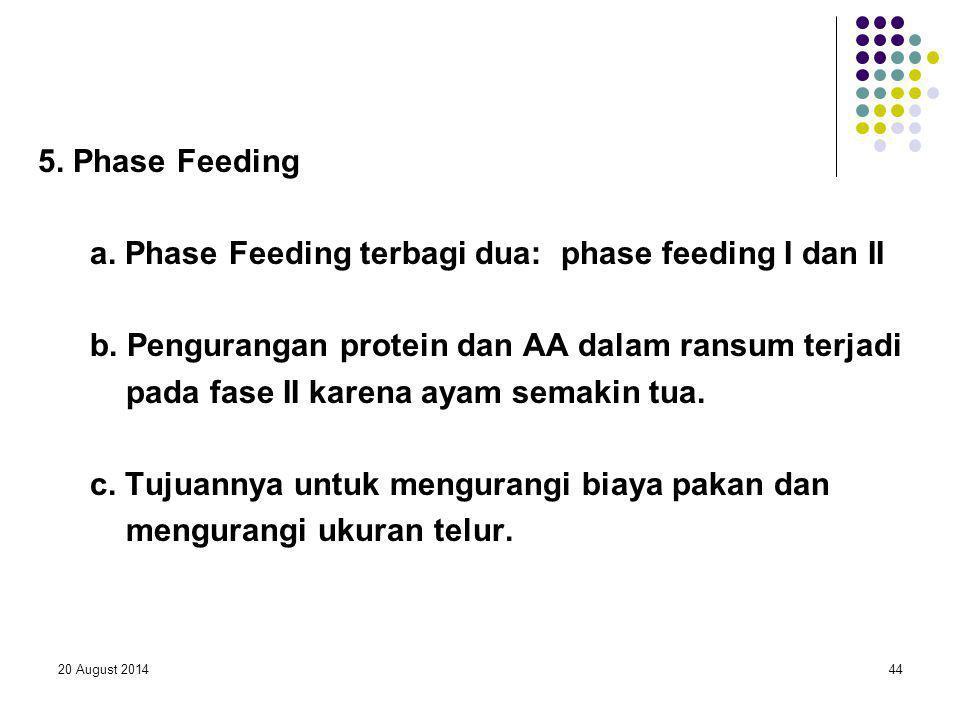a. Phase Feeding terbagi dua: phase feeding I dan II