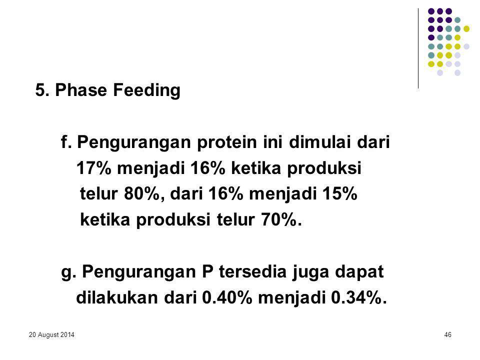 f. Pengurangan protein ini dimulai dari