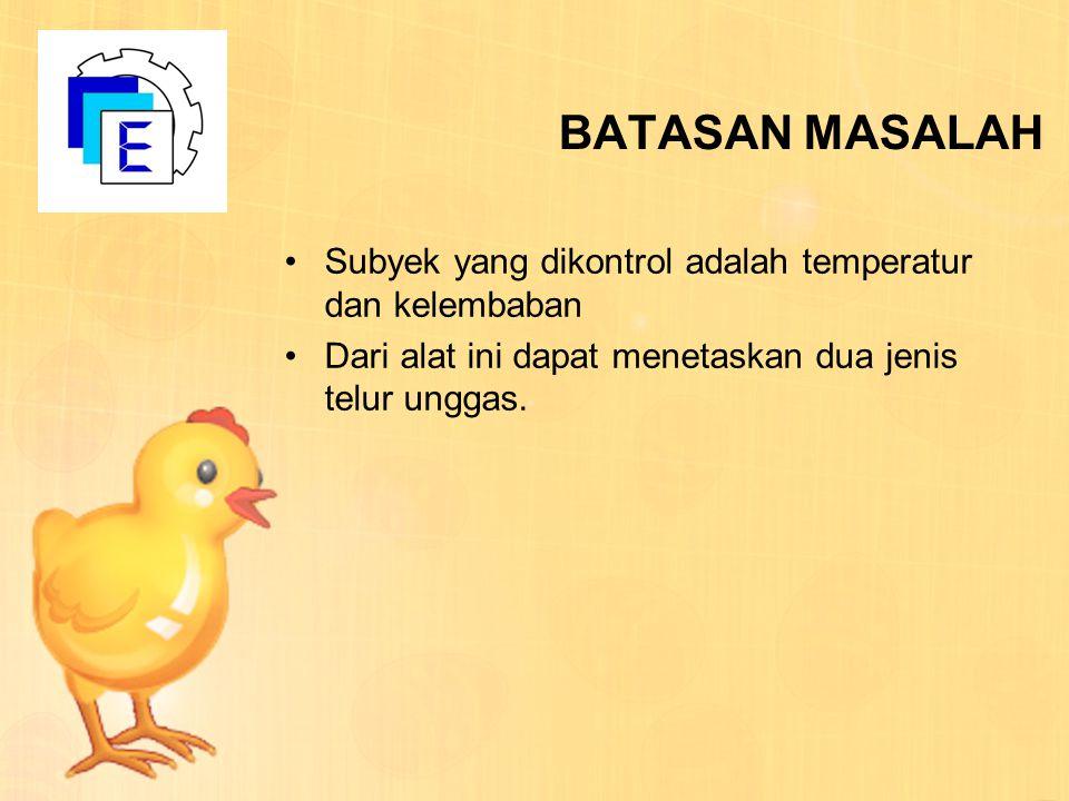 BATASAN MASALAH Subyek yang dikontrol adalah temperatur dan kelembaban