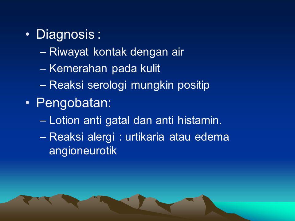 Diagnosis : Pengobatan: Riwayat kontak dengan air Kemerahan pada kulit