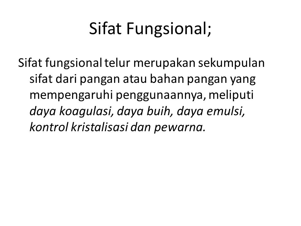 Sifat Fungsional;