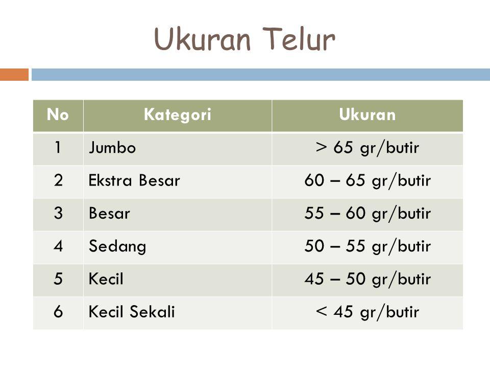 Ukuran Telur No Kategori Ukuran 1 Jumbo > 65 gr/butir 2