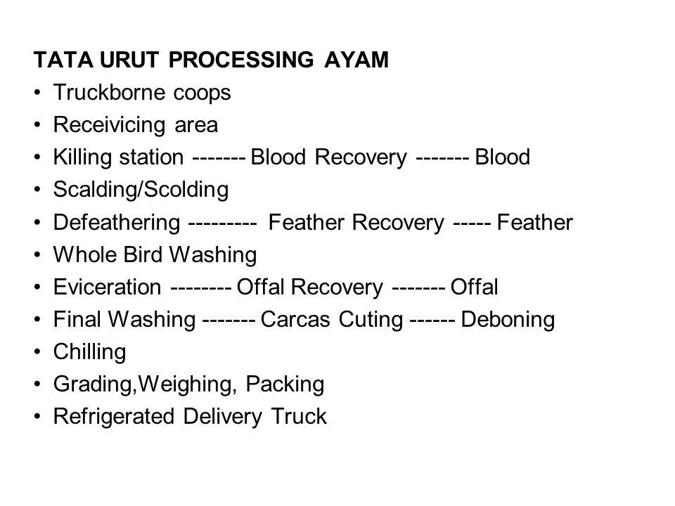 TATA URUT PROCESSING AYAM Truckborne coops Receivicing area