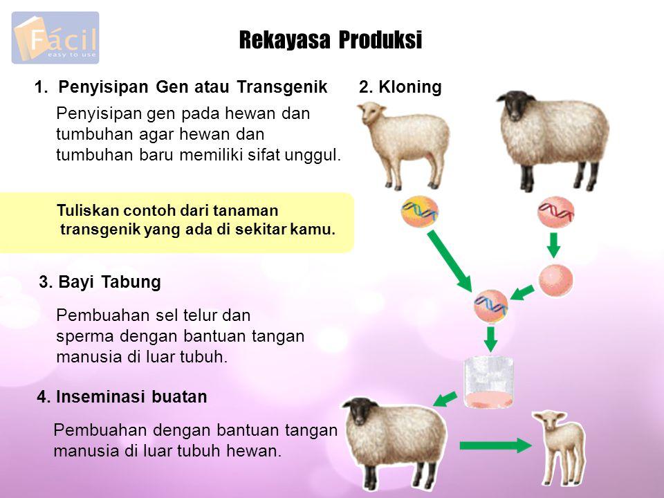 Rekayasa Produksi 1. Penyisipan Gen atau Transgenik 2. Kloning