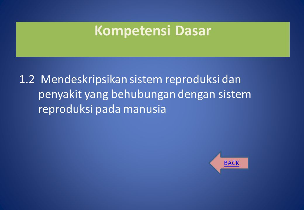 Kompetensi Dasar 1.2 Mendeskripsikan sistem reproduksi dan penyakit yang behubungan dengan sistem reproduksi pada manusia.