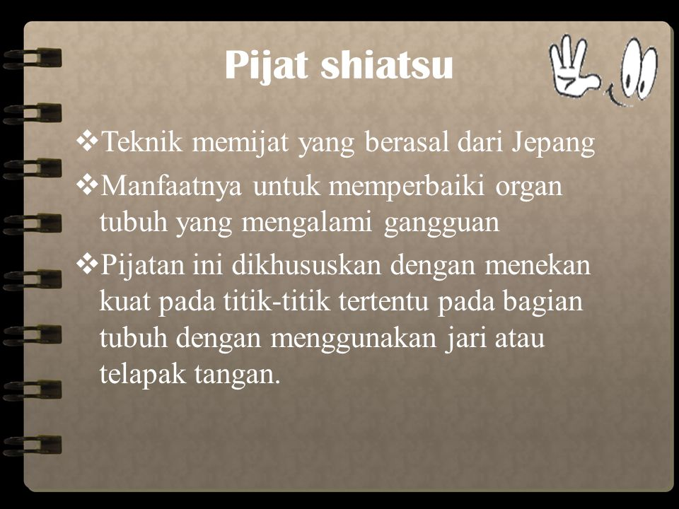 Pijat shiatsu Teknik memijat yang berasal dari Jepang