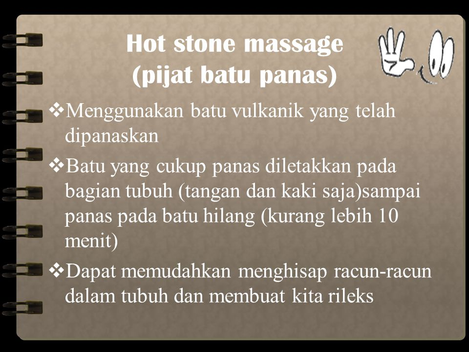Hot stone massage (pijat batu panas)