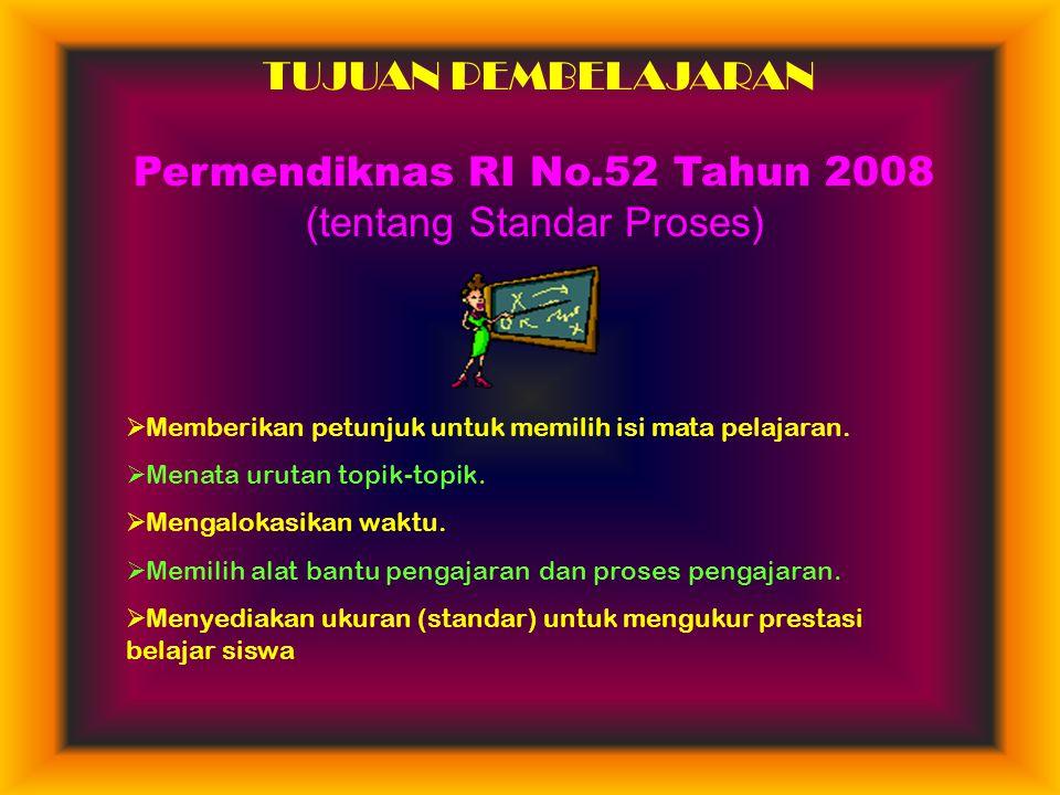 Permendiknas RI No.52 Tahun 2008 (tentang Standar Proses)