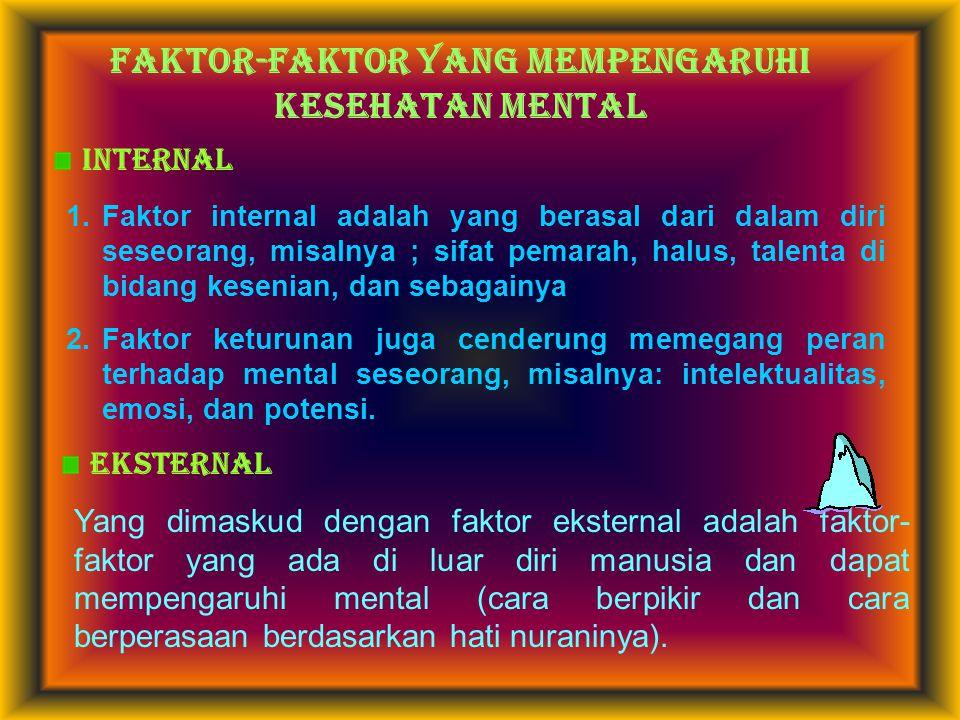FAKTOR-FAKTOR YANG MEMPENGARUHI kesehatan MENTAL