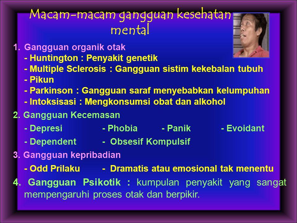 Macam-macam gangguan kesehatan mental