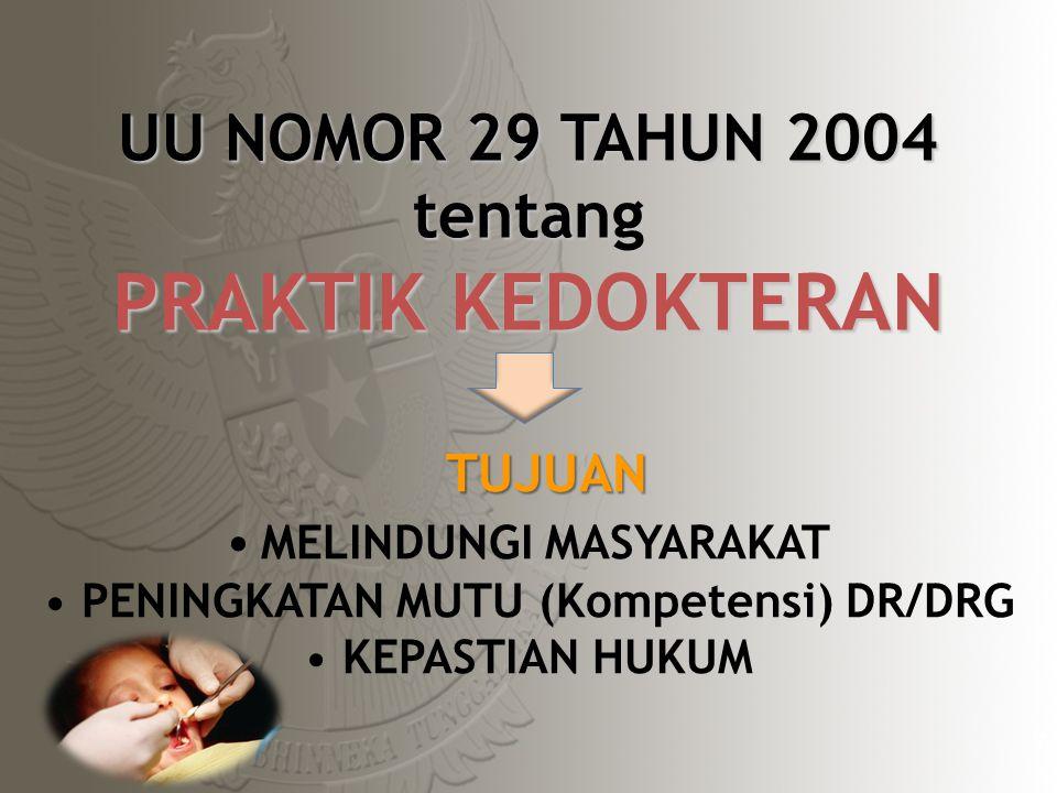 UU NOMOR 29 TAHUN 2004 tentang PRAKTIK KEDOKTERAN