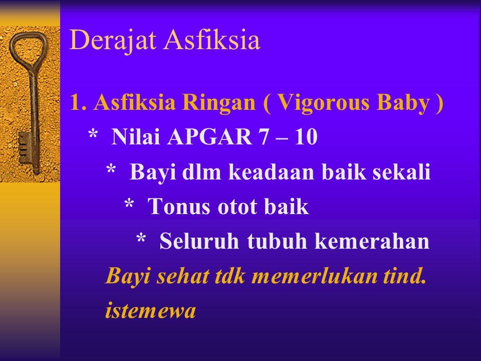 Derajat Asfiksia 1. Asfiksia Ringan ( Vigorous Baby )