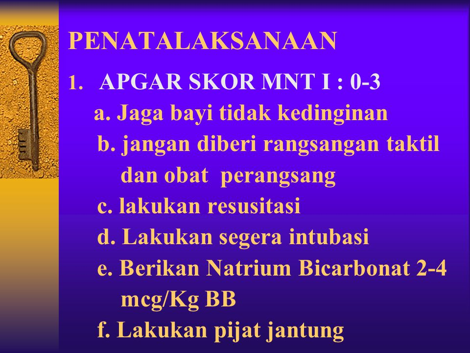 PENATALAKSANAAN APGAR SKOR MNT I : 0-3