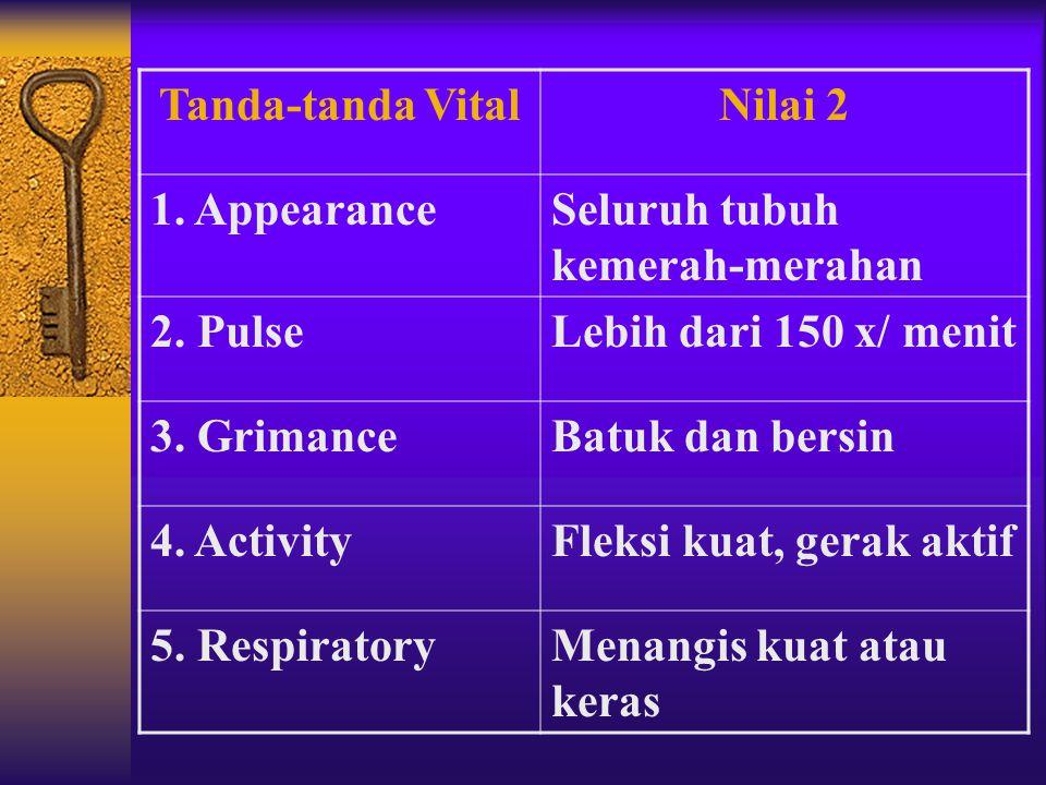 Tanda-tanda Vital Nilai 2. 1. Appearance. Seluruh tubuh kemerah-merahan. 2. Pulse. Lebih dari 150 x/ menit.