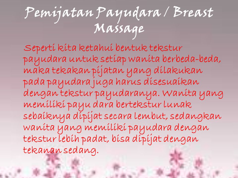 Pemijatan Payudara / Breast Massage