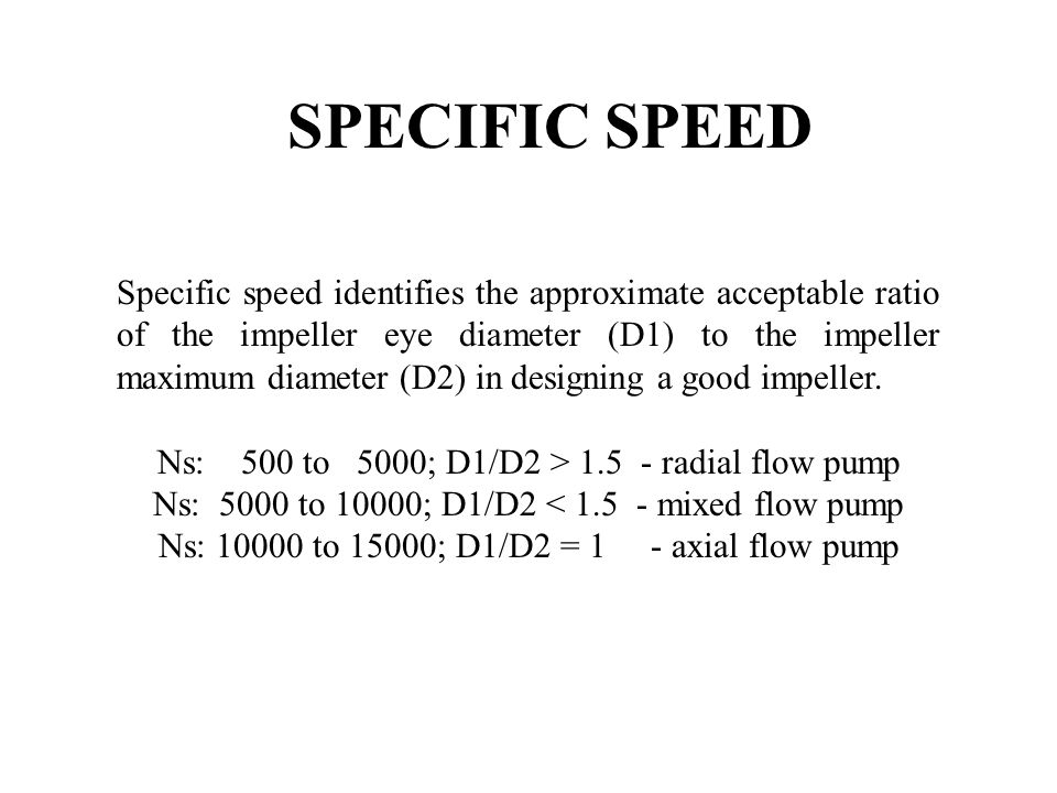 SPECIFIC SPEED