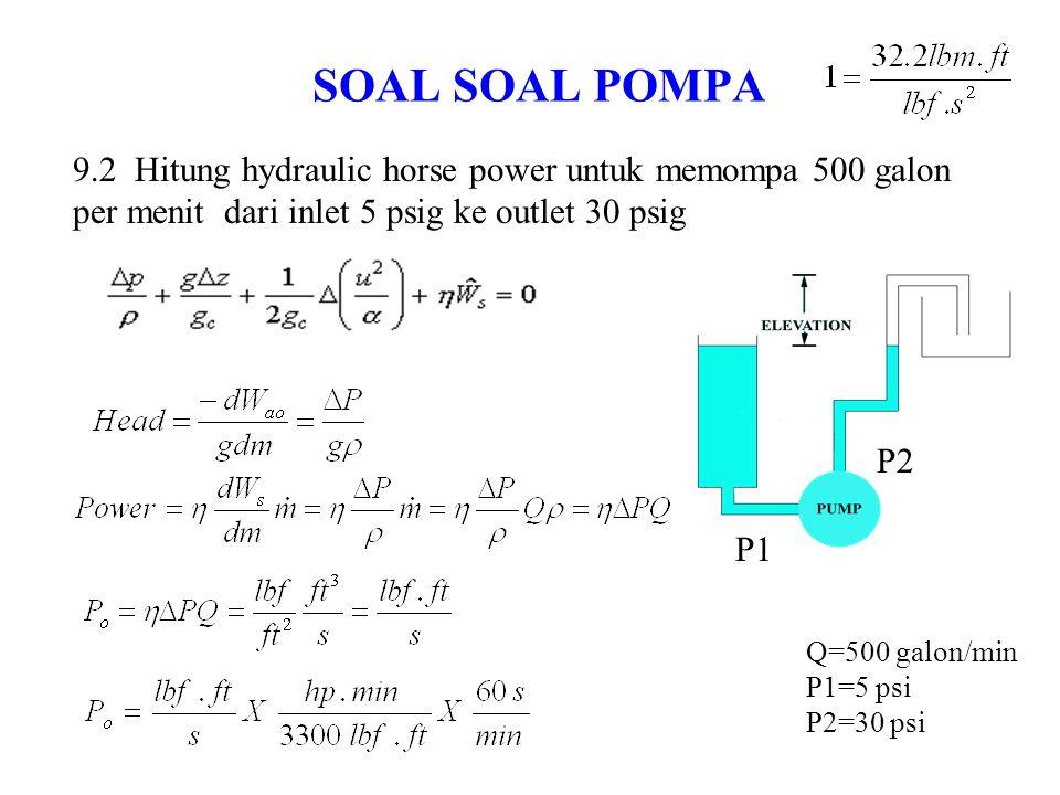 SOAL SOAL POMPA 9.2 Hitung hydraulic horse power untuk memompa 500 galon per menit dari inlet 5 psig ke outlet 30 psig.