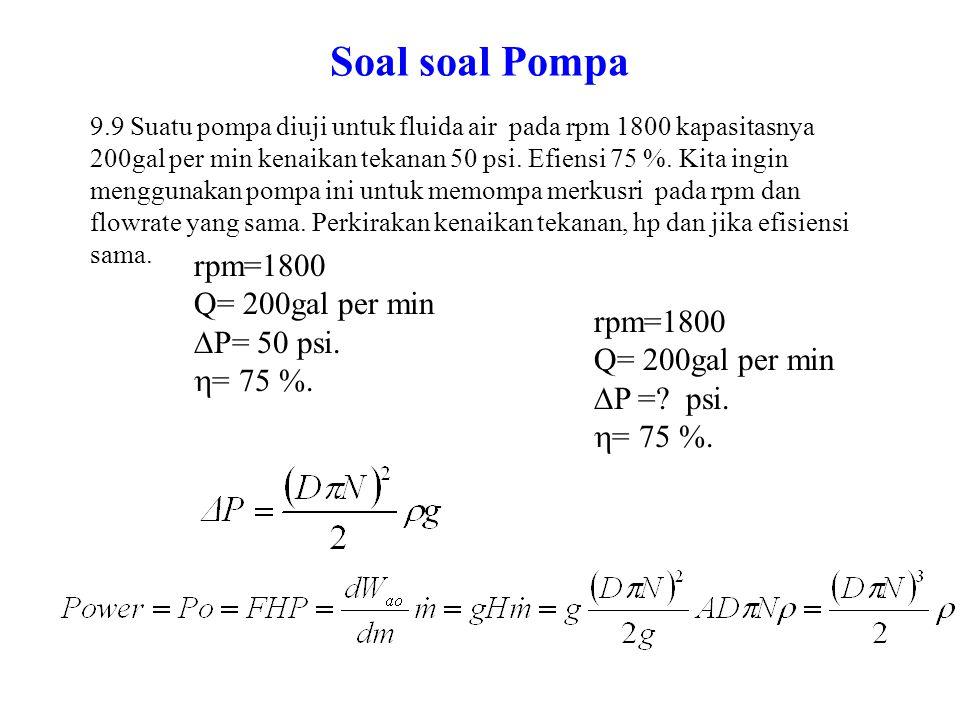 Soal soal Pompa rpm=1800 Q= 200gal per min P= 50 psi. = 75 %.