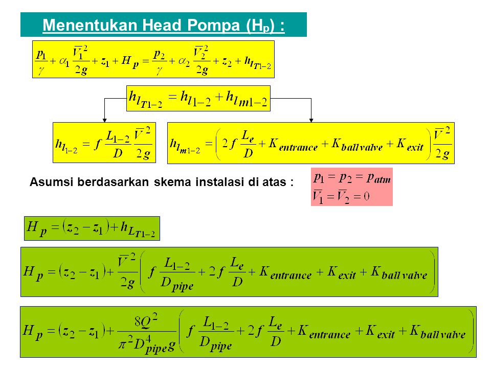 Menentukan Head Pompa (Hp) :