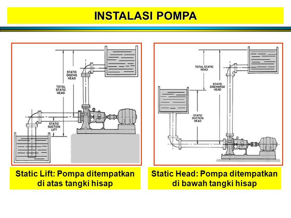 INSTALASI POMPA Static Lift: Pompa ditempatkan di atas tangki hisap
