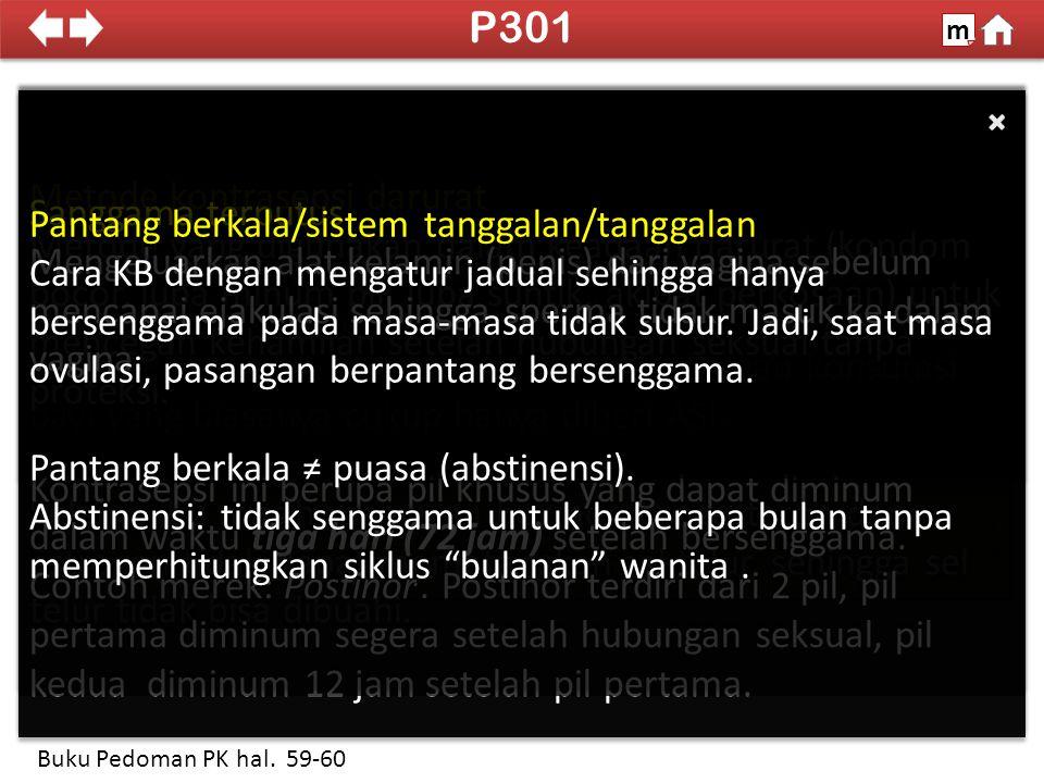 P301 Metode kontrasepsi darurat Sanggama terputus