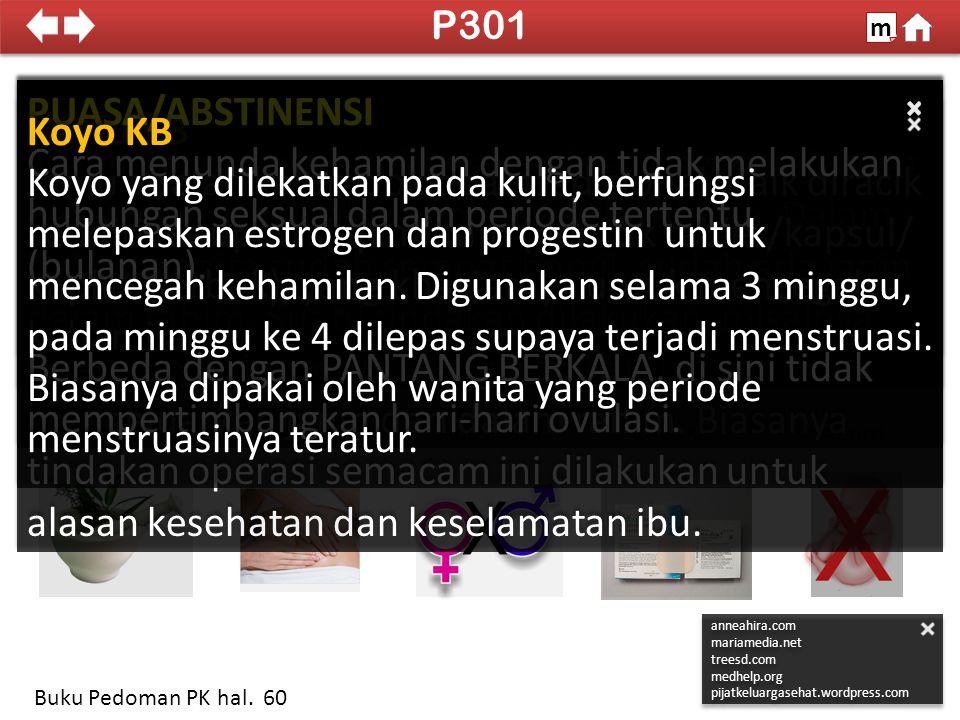 P301 m. SDKI 2012. 100% PUASA/ABSTINENSI. Cara menunda kehamilan dengan tidak melakukan hubungan seksual dalam periode tertentu (bulanan).