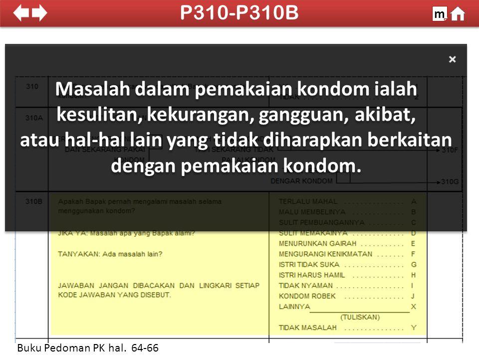 P310-P310B m. SDKI 2012. 100% Masalah dalam pemakaian kondom ialah kesulitan, kekurangan, gangguan, akibat,