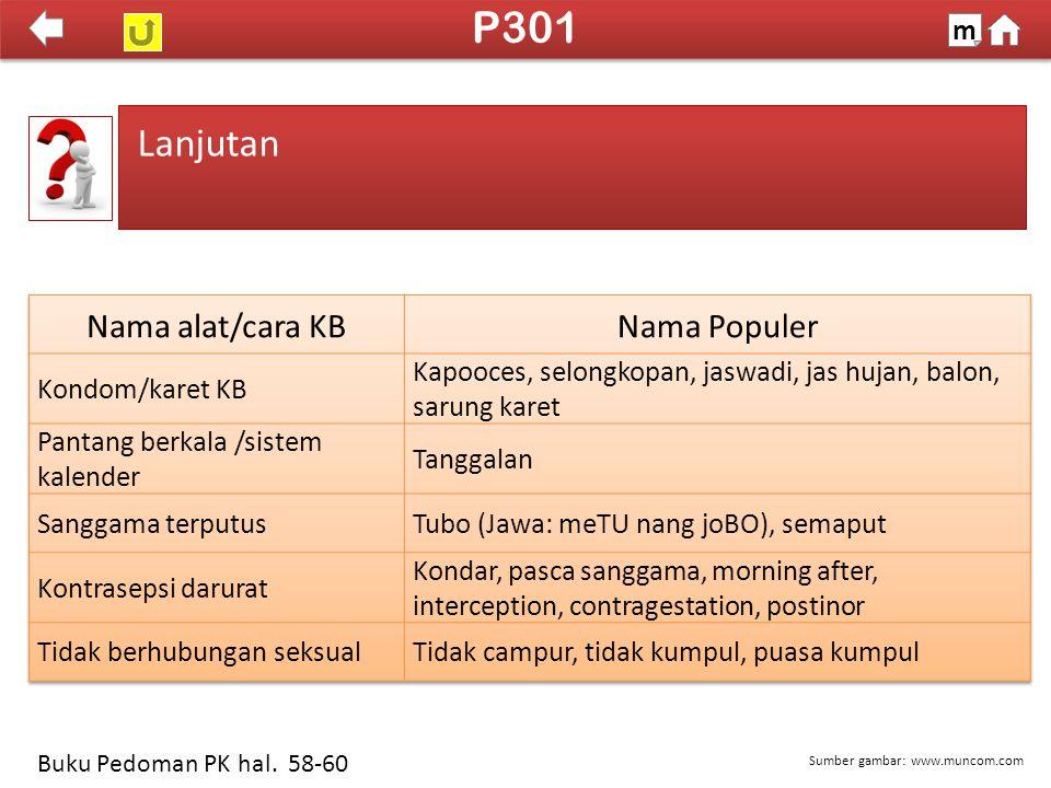 P301 Lanjutan Nama alat/cara KB Nama Populer m Kondom/karet KB