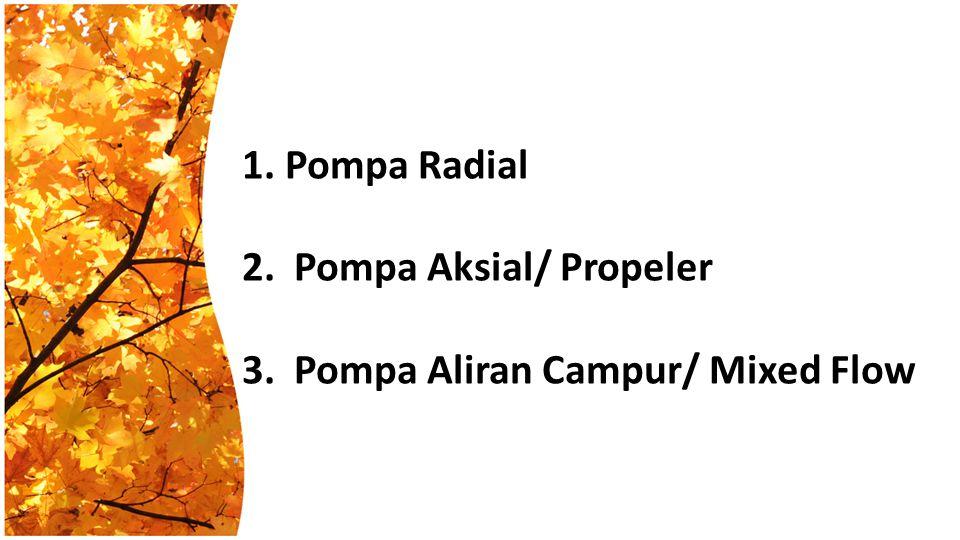 1. Pompa Radial 2. Pompa Aksial/ Propeler 3
