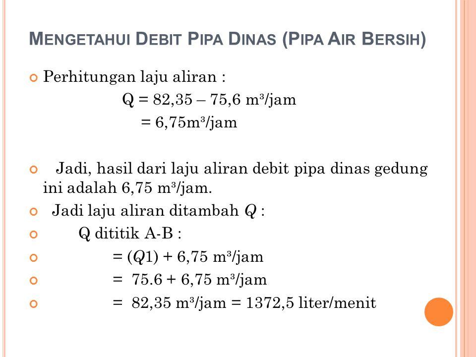 Mengetahui Debit Pipa Dinas (Pipa Air Bersih)